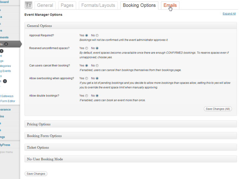 Booking Options Events Manager For Wordpress