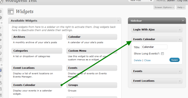 Wordpress Event Widgets