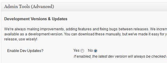Enable Dev Updates