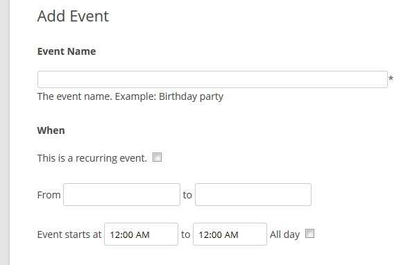 accepting user submitted events events manager for wordpress