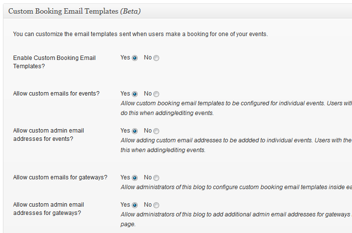 Email Template Options