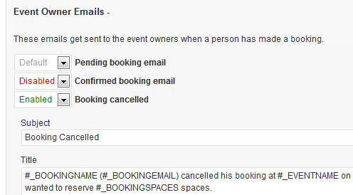 event owner emails