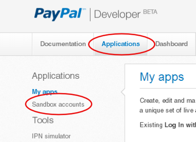 how to create test account in paypal