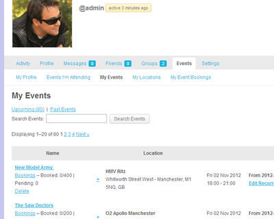 Members and guests can create and manage their events and bookings without entering the admin area.
