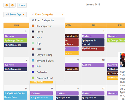 Use our own free WP FullCalendar plugin to add a fully featured AJAX calendar interface for your events.